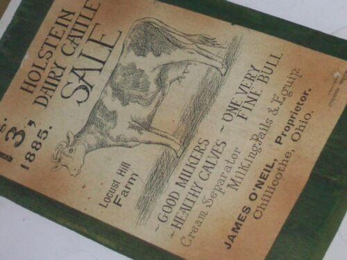 1885 Holstein Dairy Cattle Sale, Locust Hill Farm wood mount. Chillicothe, Ohio