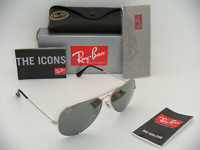 New Authentic Ray-Ban Aviator Silver Frame Grey Mirror RB 3025 W3277 58mm (Ray Ban Aviator Silver Frame)