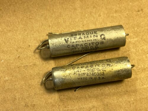 2 NOS Vintage .47 uf 300v Sprague Vitamin Q Capacitors 96P (Qty Available)