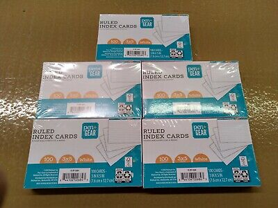 Lot Of 5 Pen Gear Ruled Index Cards - White - 3 X 5 Inches - 100 Ea - Unopened