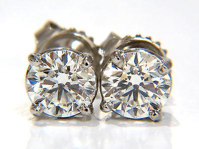 GIA 1.80CT NATURAL ROUND BRILLIANT DIAMOND STUD EARRINGS PLATINUM IDEAL+