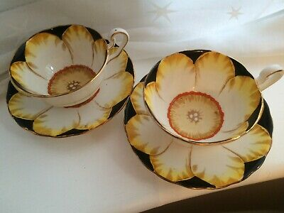 Victoria C&E Jonquil Black Floral Bone China Tea Cups & Saucers x 2