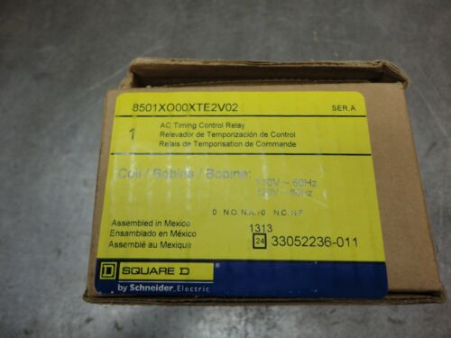 SQUARE D AC TIME CONTROL RELAY # 8501X000TE2V02 110 volts 50HZ - N.O.S. Unused