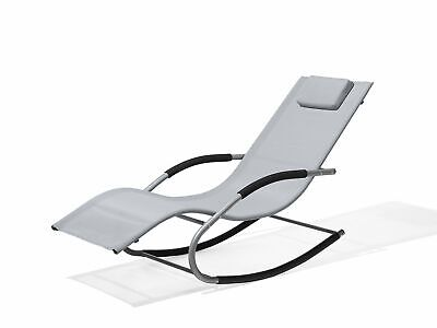 Modern Outdoor Rocking Sun Lounger Textile Sling Light Grey Carano
