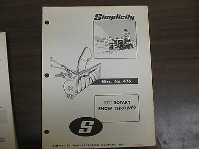 Simplicity 27 Snow Thrower Blower Owners Parts Manual Model 476