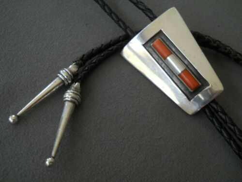 Native American Coral and Silver Bead Raised Inlay Sterling Silver Bolo Tie