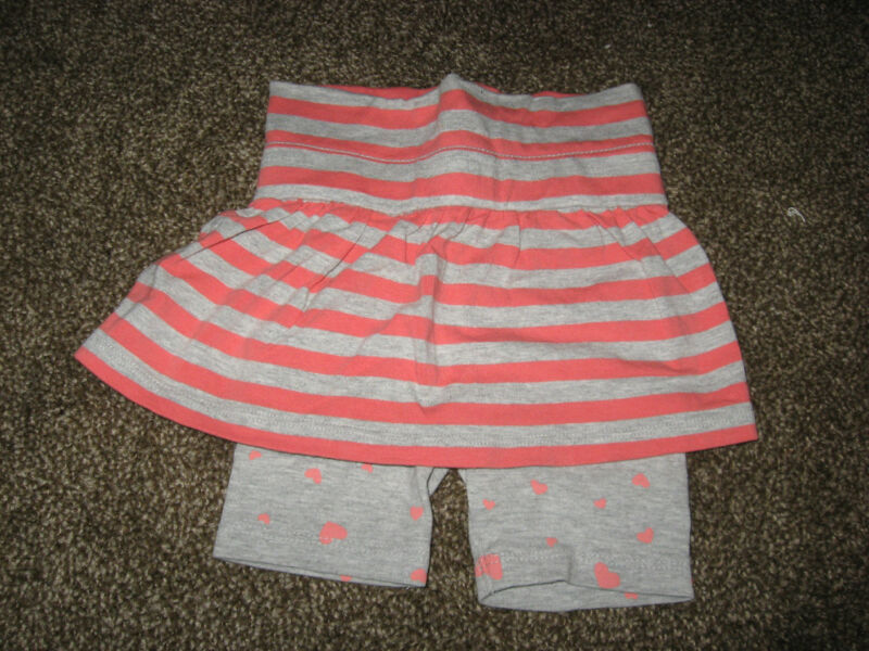 Fox Baby Pink Gray Striped Cotton Blend Skirt with Heart Leggings GUC 6-12 month