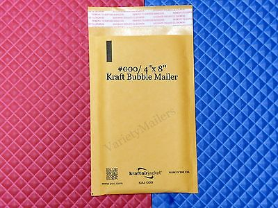 60 Small Kraft Bubble Envelopes 000 4x 8 Self-sealing Padded Mailers