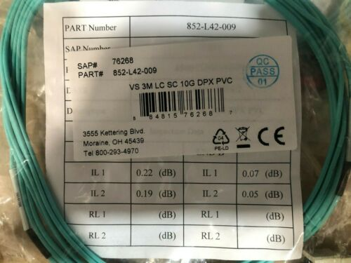Lot of 26 3Meter LC to SC 10G DPX PVC FIBER ASSEMBLY 852-L42-009 76268 50-125 MM