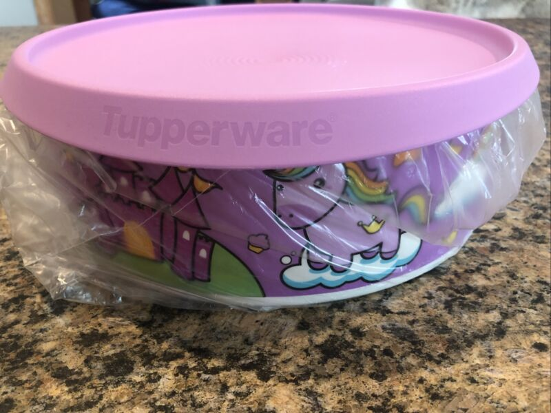 Tupperware Canister One-Touch Cookie Keeper Container Unicorn Rainbow Purple!!