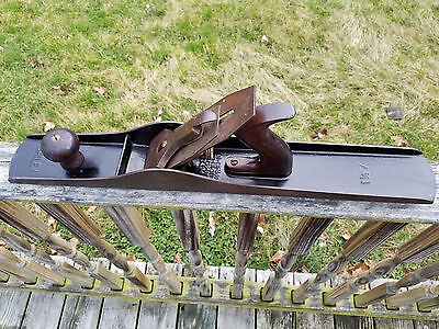Antique Stanley Bailey No. 7 Wood Plane Tool Corrugated Bottom 3 Patent Dates