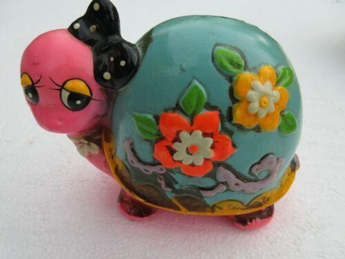 Vintage Flower Hippie Girl Turtle Coin Bank