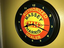 Massey Harris Farm Tractor Barn AuthDealer Man Cave Wall Clock Sign
