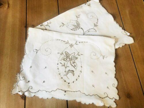 Vintage/Antique Linen Placemats Lot/Set of 2 Embroidered Ecru Cloth Christmas