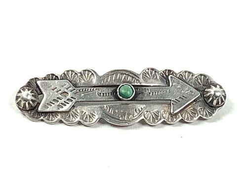 Fred Harvey Era Navajo Sterling Silver Green Turquoise Hand Stamped Arrow Pin