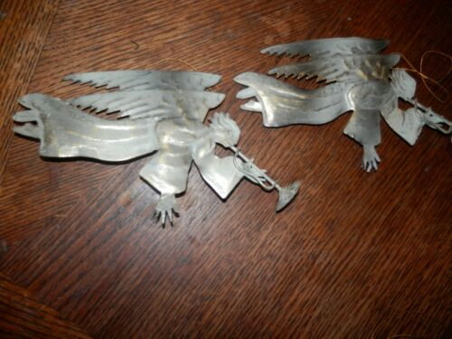 Angel Ornament Rustic Country Tin  Christmas  Set of 2, Measure 8 x 4.5 in.