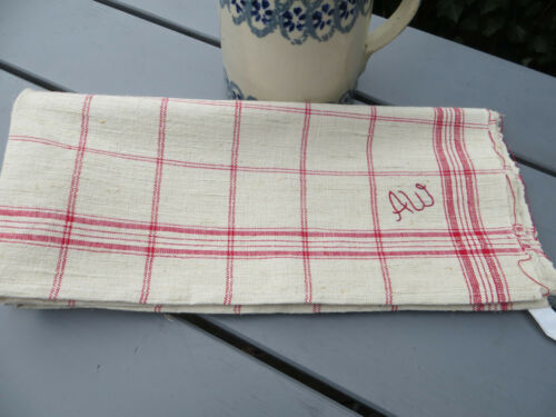 Unused Antique  Rustic Handwoven Linen Towel Red Str Mono AW 30 inch by 27 inch