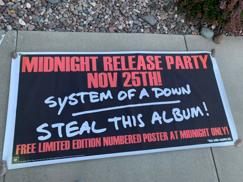 """HUGE RARE! SYSTEM OF A DOWN PROMO BANNER POSTER 74 1/2"""" X 36"""" Release Party"""