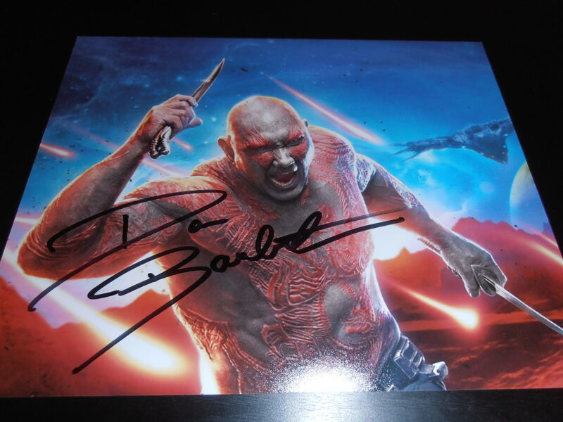DAVE BAUTISTA SIGNED AUTOGRAPH 8x10 PHOTO GUARDIANS OF THE GALAXY 2 MARVEL X2