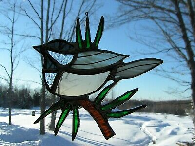 Chick-a-dee, lg./pine needles stained glass - Chick A Dees