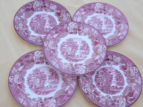 Woods Ware English Scenery 5 Bread Plates Pink Red  Transferware