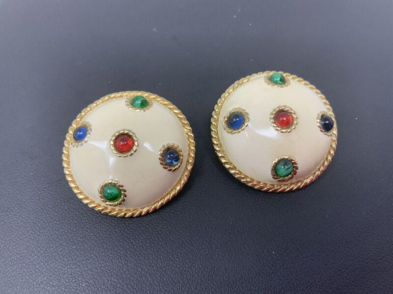 Vintage CINER Gold Tone Enamel Blue Green Red Cabochon Clip On Earrings SIGNED