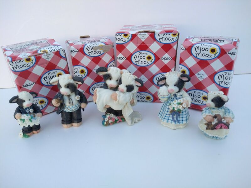 Mary's Moo Moo's Enesco I'll Never Love An-Udder Wedding Party Figurines 5 pc