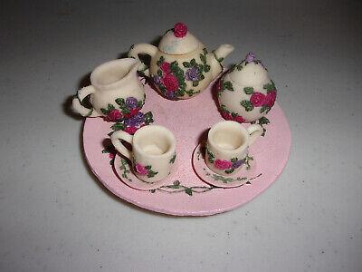 10 Piece Miniature Mini Tea Set Resin Pink Purple Red Rose Roses Floral Elegant Rose Miniature Tea Set
