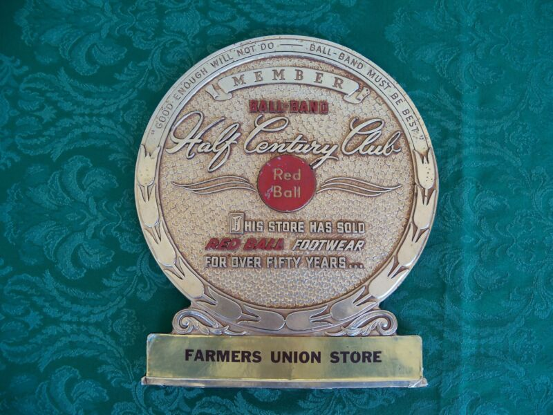 Antique Red Ball Footwear Shoe Display Sign from NC Farmers Union General Store
