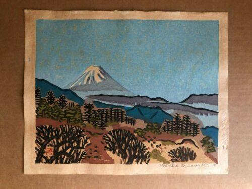 Original Signed Woodblock OKIIE HASHIMOTO Mt Fuji 12 x 10