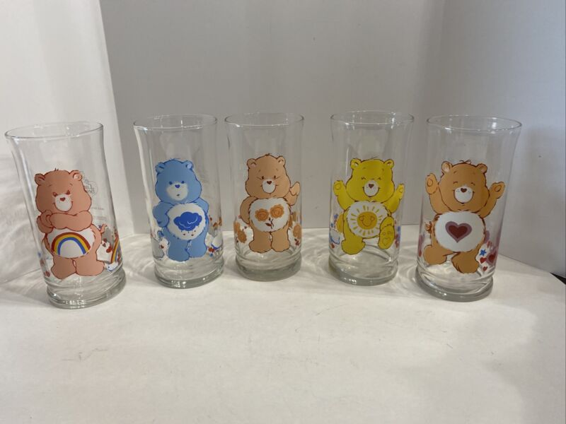 1983 Care Bears Pizza Hut Glass Set Complete Set Of 5