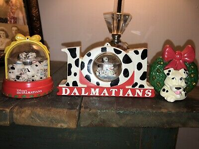 1996 101 Dalmations McDonalds Happy Meal Toys Figures lot of 3 Snow globe Wreath