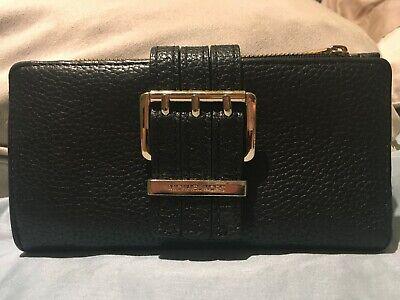 Michael Kors Gansevoort Large Black  Leather Clutch Zip Continental Wallet
