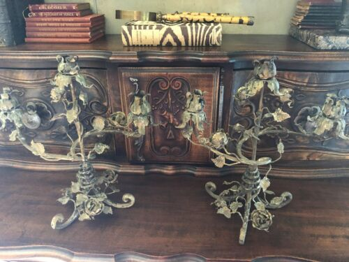 PAIR OF ANTIQUE  ITALIAN TOLE METAL FLOWERS & LEAVES CANDELABRAS