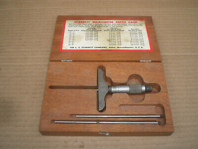 Starrett No.445 Depth Micrometer Set With Rods And Wood Case
