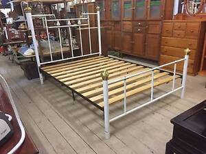 Brass Porcelain Queen Size Bed Frame Complete White Metal Queenstown Port Adelaide Area Preview