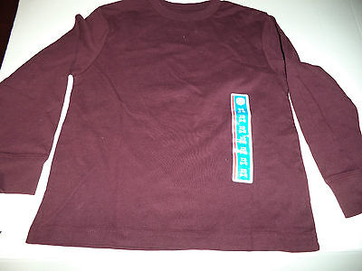 Solid Dark Red Circo Boys Size Xtra Small  4-5 Long Sleeve Cotton Tee Shirt