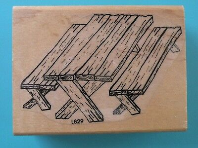 Backyard/Park Wood Picnic Table Rubber Stamp