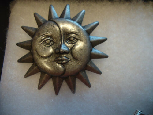Danecraft vtg/nos pewter Moon Sun face pin