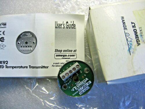 OMEGA Engineering TX92-3 Temperature Transmitter 0-300 F / 100 ohm - NIB