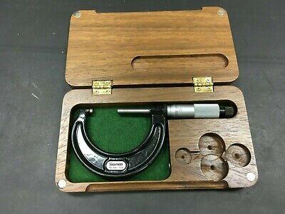 Starrett No. 436.1 1-2 Inch Micrometer With Custom Wooden Case