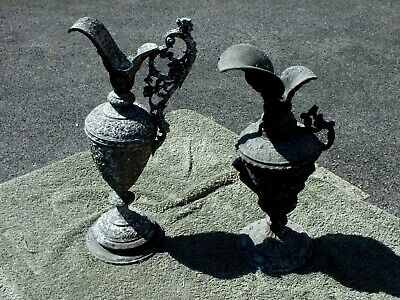 Two Unusual Mid 19th Century Spelter Garden Ornaments in the Shape of Ewers (af)