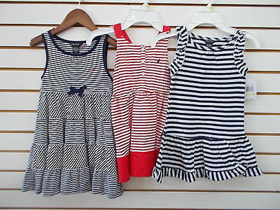 Girls Nautica $34.50 Navy or Red Striped Dresses Size 4 - 6X