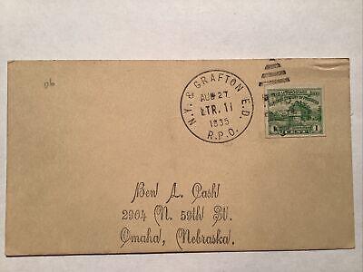 RPO Railroad Post Office 1935 New York & Grafton NY WV 1c imperf stamp