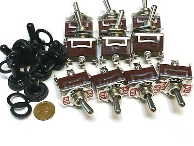 10 Pieces Waterproof Red 3pin Latching Lock Toggle Switch Boot Cap 12v 125v C41