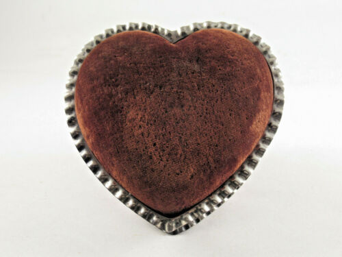 ANTIQUE GORHAM STERLING SILVER HEART SHAPED PIN CUSHION DRESSER BOX, 1869 MARKS