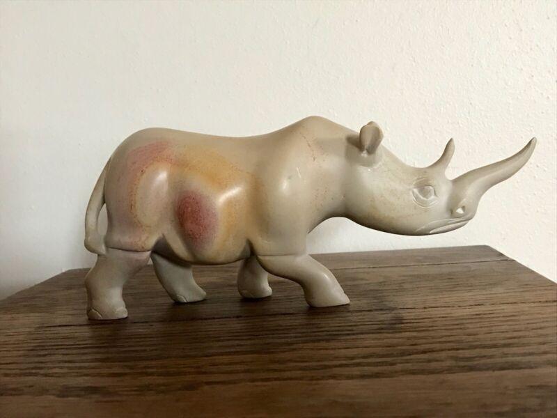 Hand Carved Soapstone Rhinoceros Figurine
