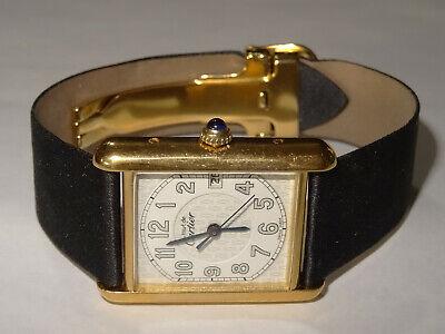 Mens CARTIER 18k Vermeil Tank Louis Date Watch 2413 France Nmbs Dial Cartier Box