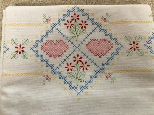 Vintage Augusta Mills stamped Hearts  pillowcase to embroider new