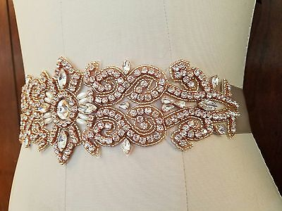 "Wedding Bridal Sash Belt, ROSE GOLD Crystal Pearl Wedding Sash Belt = 11"" LONG"